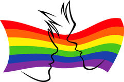 Gay flag with silhouetted couple Royalty Free Stock Photos