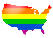 Gay flag USA map Stock Photos