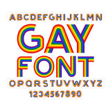 Gay font. Rainbow letters. LGBT ABC for Symbol of gays and lesbi Royalty Free Stock Photos