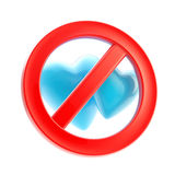 Gay forbidden red glossy sign isolated. Gay love forbidden, not allowed red glossy sign isolated on white Royalty Free Stock Images