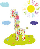 Gay giraffe. Drawing bright colorful baby giraffe Royalty Free Stock Image
