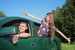 Gay and girl in car Royalty Free Stock Image