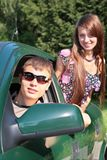 Gay and girl in car Royalty Free Stock Photos