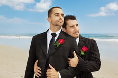 Gay grooms. Two gay men after wedding Royalty Free Stock Photography