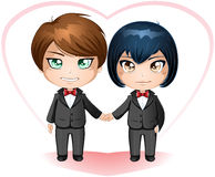 Gay Grooms Getting Married. A illustration of gay men dressed in suits for their wedding day royalty free illustration
