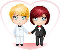 Gay Grooms Getting Married 3. A illustration of gay men dressed in suits for their wedding day vector illustration