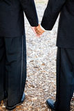 Gay Grooms Holding Hands. Closeup view of interracial gay couple getting married in tuxedos and holding hands.  Wedding band is visible Stock Images
