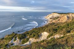 Gay Head cliffs of clay at the westernmost point of Martha`s Vin. Eyard in Aquinnah, Massachusetts, USA Royalty Free Stock Images