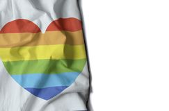 gay heart wrinkled flag, space for text Stock Image