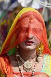 Gay (hijra) dressed as woman at Pushkar camel fair,India Royalty Free Stock Photos