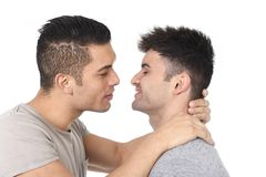 Gay homosexual couple young attractive handsome men in love kissing Stock Photo