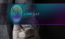 Gay and Homosexual Expression Concept, Person Pressing Fingerpri Royalty Free Stock Photo