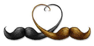 Gay And Homosexual Relationships. Concept with two mustaches with blond hair and black whiskers combined as a partnership and union in the shape of a heart as a Royalty Free Stock Image