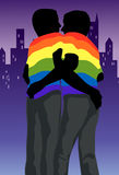 The Gay Hug. An image showing the silhouettes of two gay men wearing rainbow colored t-shirts and gray trousers, and holding each around the waist vector illustration
