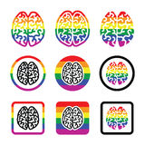 Gay Human brain icons set - rainbow symbol Royalty Free Stock Images