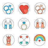 Gay icons. Vector line icons. Set of gay marriage and gay love icons. LGBT symbols including unicorn and rainbow. Homosexual design elements. Gay pride. Same sex Vector Illustration