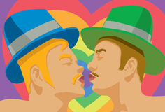 Gay Kiss. An image of two gay men wearing hats and pursing their lips to kiss each other royalty free illustration