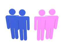 Gay Lesbian. Illustration a gay and lesbian couple or straight couples standing by their friends Stock Images