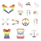 Gay and lesbian cartoon icons in set collection for design.Sexual minority and attributes vector symbol stock web. Gay and lesbian cartoon icons in set Stock Images