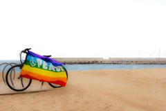 Gay and lesbian community flag on bicycle near the sea Stock Photos