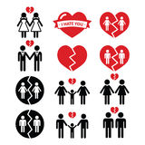 Gay or lesbian Couple breakup, divorce  icons set Royalty Free Stock Photo