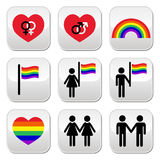 Gay and lesbian couples  buttons set Stock Images