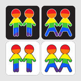 Gay and lesbian couples icons set. Stock Image