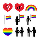 Gay and lesbian couples, rainbow  icons set Stock Photography