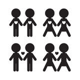 Gay and lesbian couples vector icons set. Stock Photography