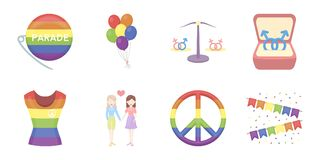 Gay and lesbian icons in set collection for design.  Royalty Free Stock Photo