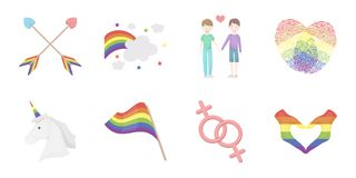 Gay and lesbian icons in set collection for design.Sexual minority and attributes vector symbol stock web illustration. Gay and lesbian icons in set collection Royalty Free Stock Image