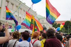 Gay lesbian marchers holding flags balloons. VILNIUS, LITHUANIA - JULY 27: colorfully dressed gay lesbian marchers holding flags balloons chanting slogans on Royalty Free Stock Photography