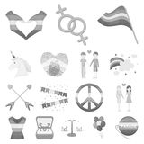 Gay and lesbian monochrome icons in set collection for design.Sexual minority and attributes vector symbol stock web. Gay and lesbian monochrome icons in set Royalty Free Stock Photo