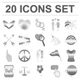 Gay and lesbian monochrome icons in set collection for design.Sexual minority and attributes vector symbol stock web. Gay and lesbian monochrome icons in set Stock Image