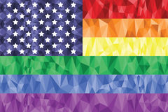 Gay and Lesbian rainbow flag in poly art  icon with united states element Stock Photo