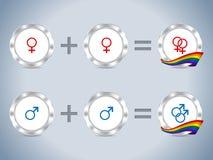 Gay lesbian symbols with flag and badges. Gay lesbian symbols and sign with flag and metallic badges vector illustration