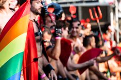 Gay and lesbians walk in the Gay Pride Parade Royalty Free Stock Image