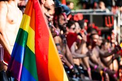Gay and lesbians walk in the Gay Pride Parade Royalty Free Stock Photos