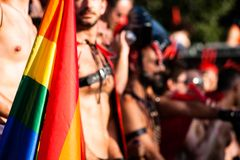 Gay and lesbians walk in the Gay Pride Parade Royalty Free Stock Images