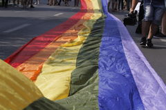 Gay and lesbians walk in the Gay Pride Parade Royalty Free Stock Photo