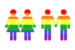 Gay LGBT rainbow icons white Royalty Free Stock Photo