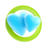 Gay love allow sign isolated. Gay love allow blue sign glossy icon made of hearts isolated on white Royalty Free Stock Photo