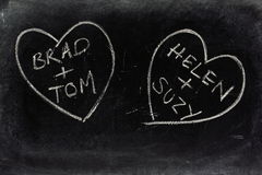 Gay Love Hearts on a Blackboard. Two love hearts drawn on a used blackboard with the names of same sex couples as a concept for homosexual or gay relationships royalty free stock image
