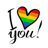 Gay love lettering. Gay rainbow heart and hand drawn letters isolated on white background. Gay love symbol. LGBT love symbol. I love you inscription Stock Photos