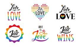 Gay love lgbt set vector illustration