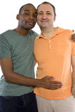 Gay Lovers. Gay Couple. Older Russian men with younger black male Royalty Free Stock Image