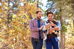 Gay Male Couple With Baby Walking Through Fall Woodland Stock Photography