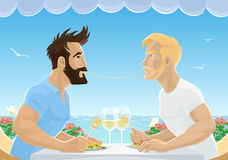 Gay male couple eating spaghetti in restaurant by sea. Handsome men in love having lunch with wine. Homosexual love concept vector illustration