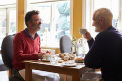 A gay male couple having lunch in a restaurant, side view Royalty Free Stock Image