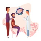 Gay male couple plan a pregnancy with the help of a surrogate mother with a man doctor stock illustration